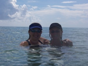 Abbie and me in the incredible Bahamian waters, the best way to get clean!