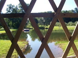 A view of the pond from inside our covered bridge . . .